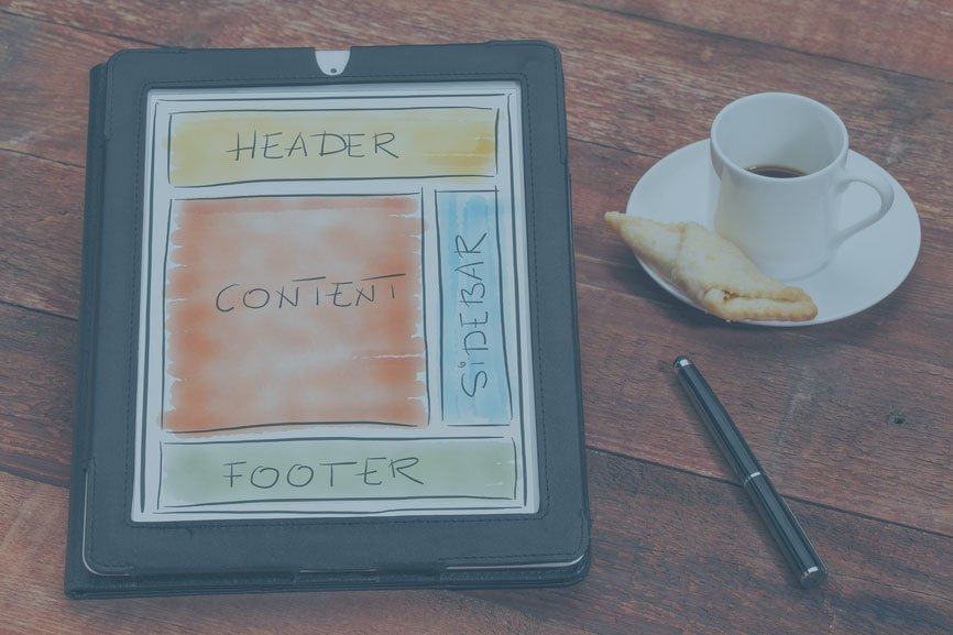 web content wireframe on tablet