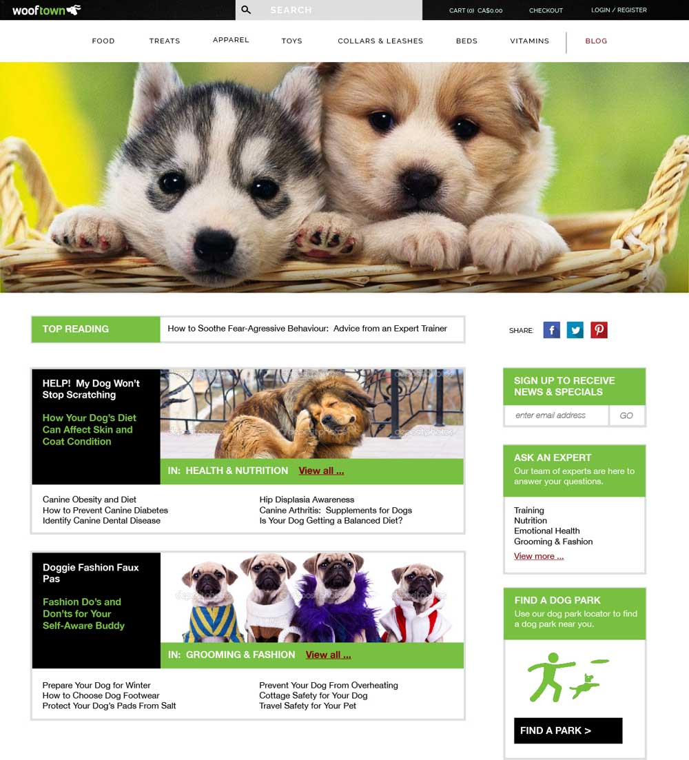 Online pet store how-to landing page