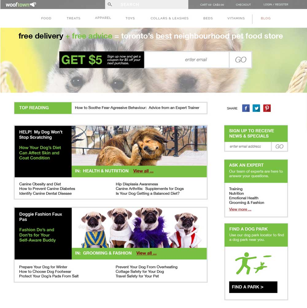 Wooftown blog landing page design