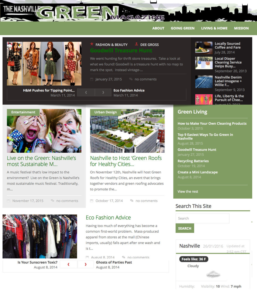 The Nashville Green homepage layout