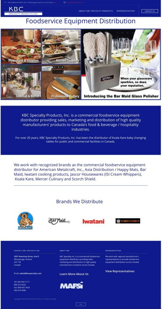 KBC Specialty Inc. homepage design