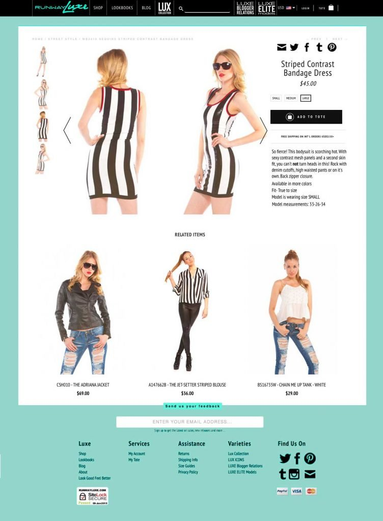 Runway Luxe product page layout refresh