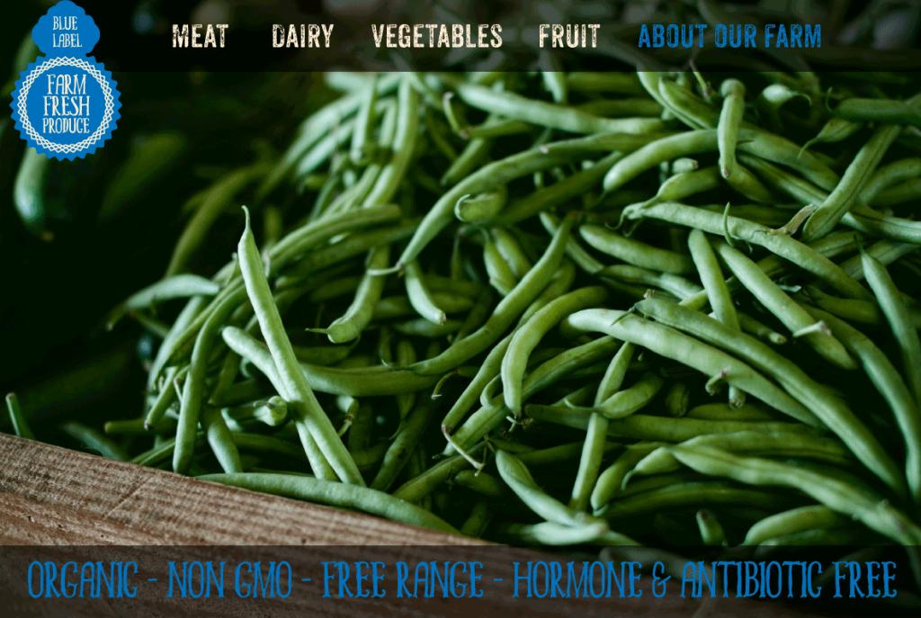 Fictitious website concept for organic farm