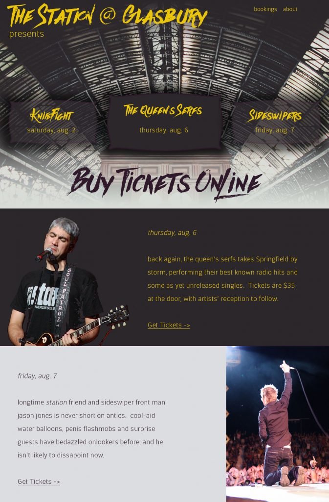 Fictitious music venue website, The Station at Glasbury